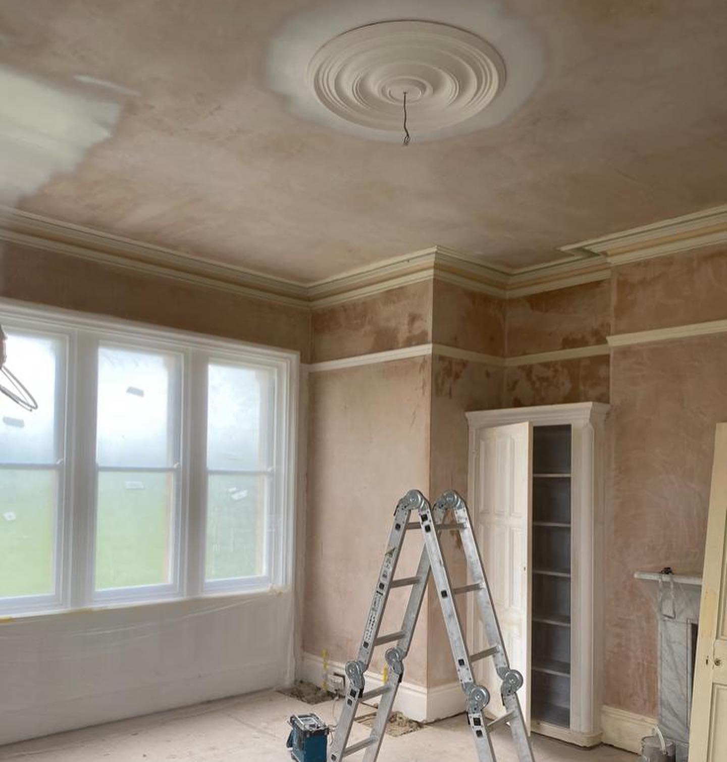 Fresh plastered large living room
